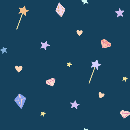 A whimsical vector pattern with stars, gems, magic wands and hearts