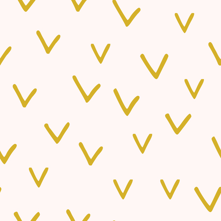 Seamless abstract vector pattern with mustard check mark on light pink background Stock Photo
