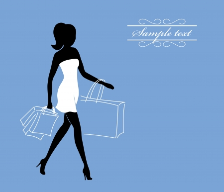 girl with shopping bags Illustration