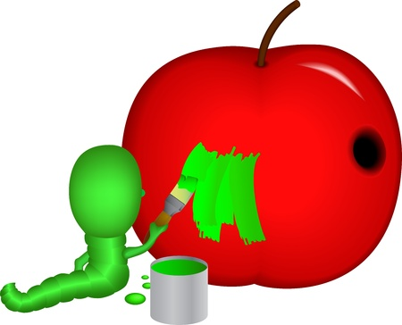 Caterpillar with paint - caterpillar is repainting your house-apple Vector