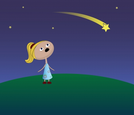 a girl is looking to a falling star Illustration