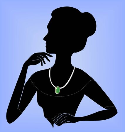 silhouette of a lady in a necklace Stock Vector - 14088595