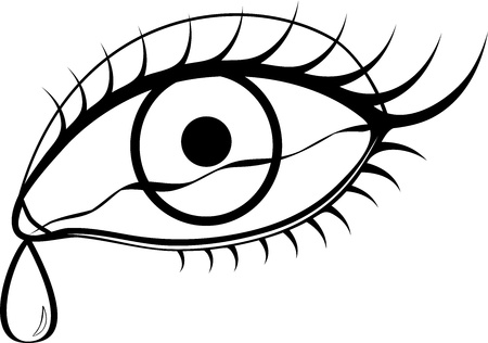 fille pleure: les yeux en noir et blanc avec des larmes Illustration