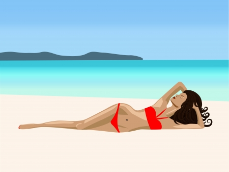 A  girl is lying on a beach in a rad bikini Vector
