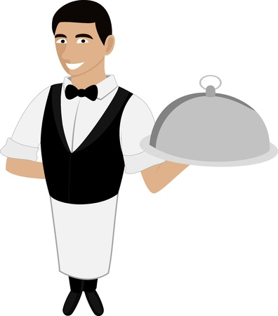 A handsome waiter in a bow tie with a meal