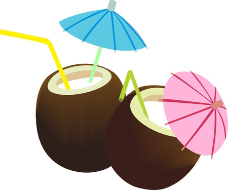 two coconuts with coconut milk are decorated with umbrella and straw