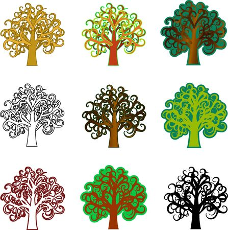 simple logo: Various fantasy trees  Art beautiful trees for your design