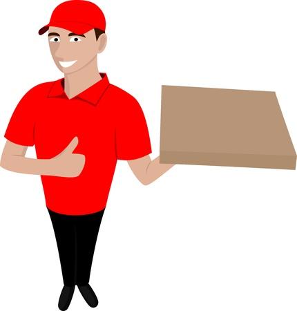 fine cuisine: Courier con la pizza ordinata