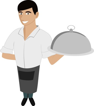 A handsome waiter with a dish Illustration