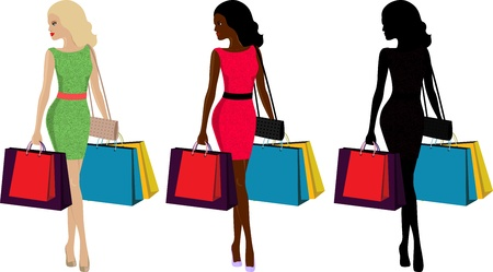 three types of fashionable woman with shopping bags Vector
