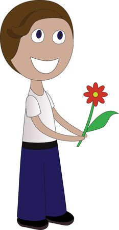 boy with a flower on white Stock Vector - 14956952