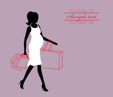 a pregnant woman with shopping bags Stock Vector - 15506320