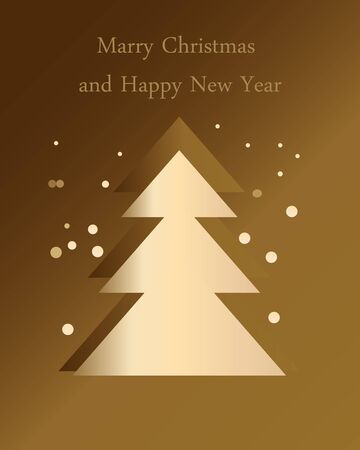 Christmas tree and snowfall on a gold background
