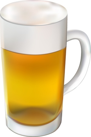 photorealistic glass of beer isolated on the white background