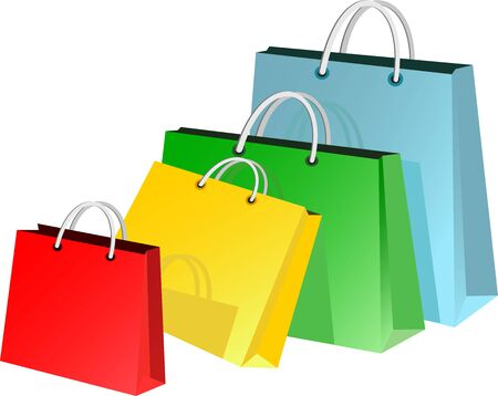 Colorful shopping bags isolated on white Vector