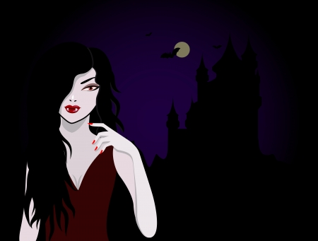 horror face: Beautiful vampire with a castle