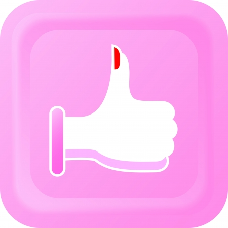 women's hand: Thumbs up button with a womens hand