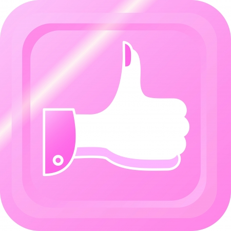 validation: Thumbs up button with a womens hand with glare Illustration