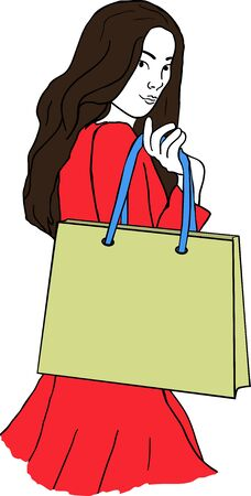undergraduate: An young woman with a shopping bag on white background Illustration