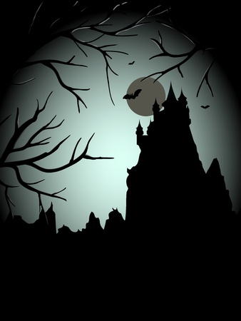 Halloween scary castle with the moon and free place for text Vector