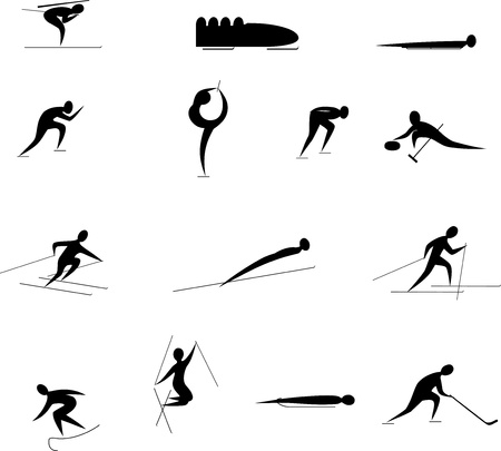 curling: winter sports competition games icon set Illustration