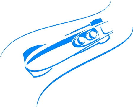 bobsleigh icon  in blue Stock Vector - 16103485