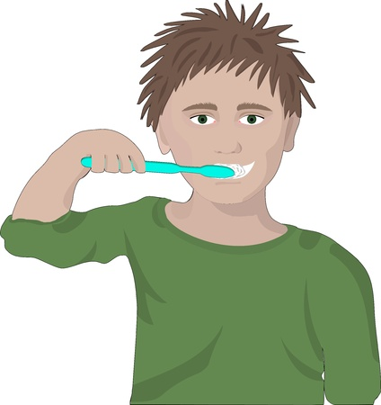 oral hygiene: boy  brushes his teeth