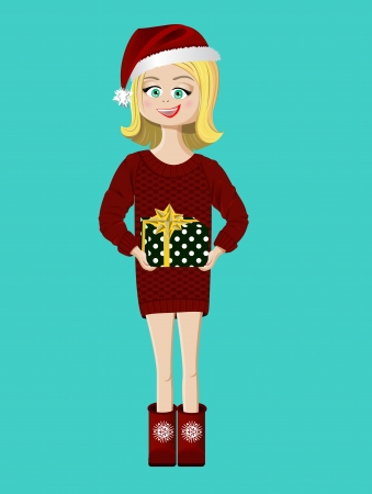 Young happy girl with a Christmas gift Vector