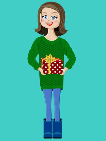 girl with a red present box Illustration