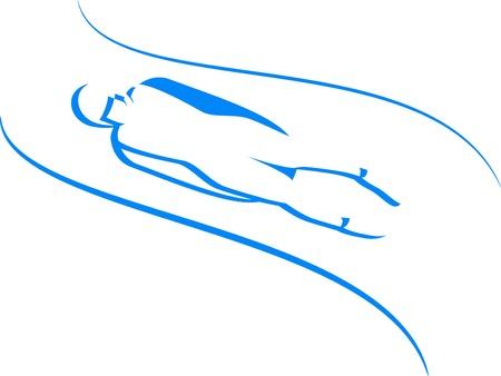 luge: Luge icone di sport invernali in blu Vettoriali