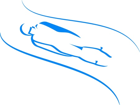 Luge  winter sports icons in blue Vector