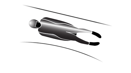 bobsled: Luge  winter sports icons in grey