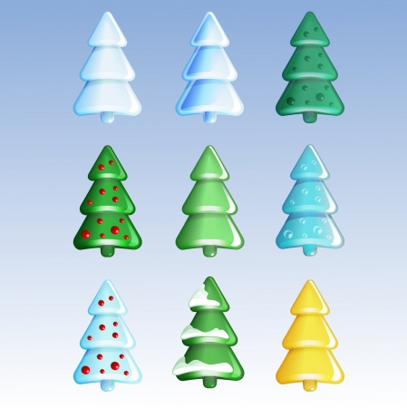 Vector Christmas trees set Vector