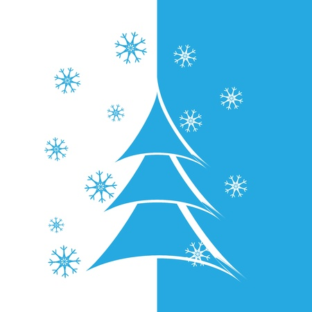Christmas background with Christmas tree and snowflakes Vector