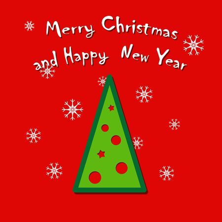 Christmas and New Year greeting card with Christmas tree on red background