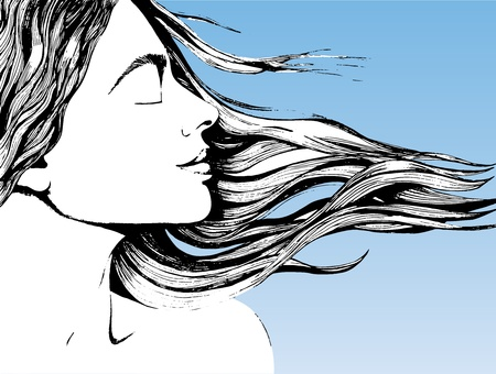 A woman's face with hair streaming in the wind. The background is color of the sky Stock Vector - 16779558