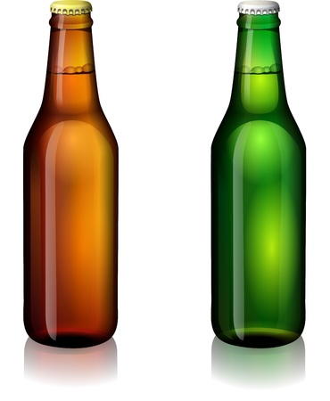 Green and brown bottles of beer on a white background Illustration