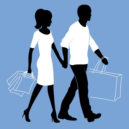 gait: Man and woman is walking with shopping bags