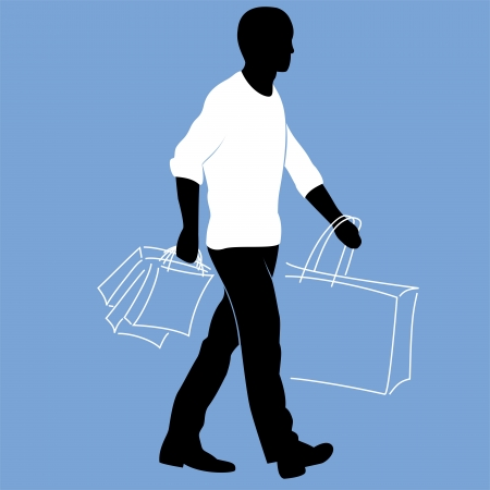 lad: Man in a white sweater is walking with shopping bags Illustration