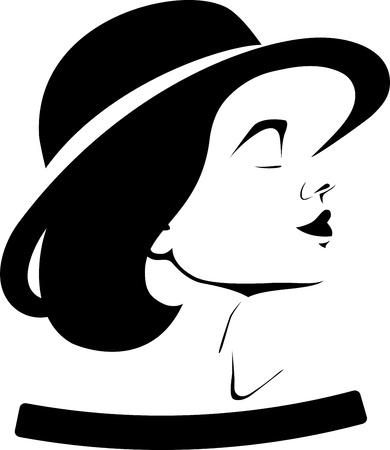 perfil de mujer rostro: Perfil de una muchacha en un sombrero aislado en un fondo blanco