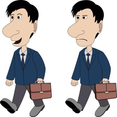 sad businessman: a man with a briefcase is walking in good and bad mood