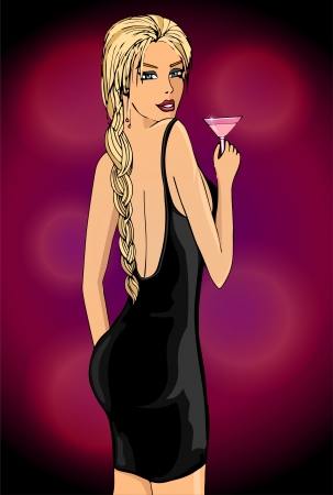 Elegant woman in a black dress with cocktail in your hand Vector