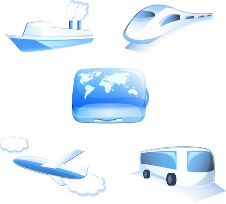 traveling icons isolated on white background