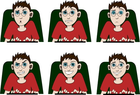A man is working on a computer with different emotions