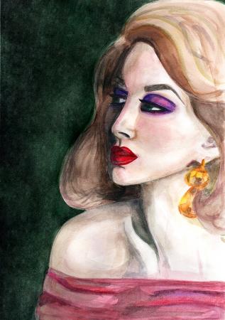 Elegant woman on green background  Watercolour Stock Photo