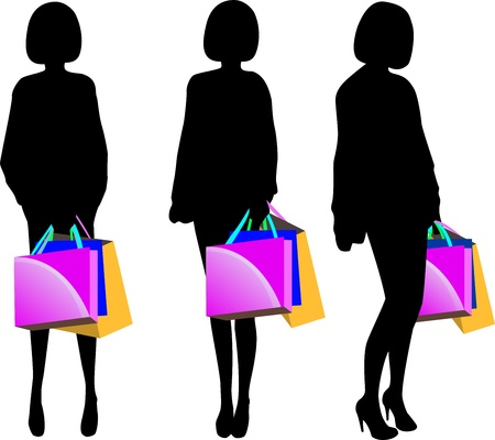 Black silhouette of young woman with shopping bags isolated on white