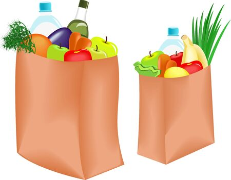 fruit and veg: Paper bag with healthy food on white background Illustration