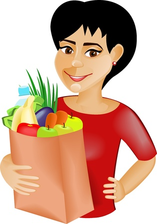 A young black-haired girl is holding a bag full of healthy food  Shopping