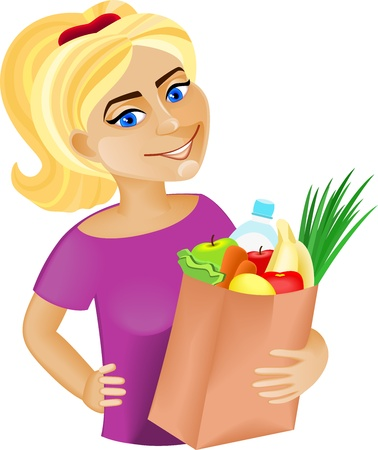 A young woman holding a bag full of healthy food  Shopping