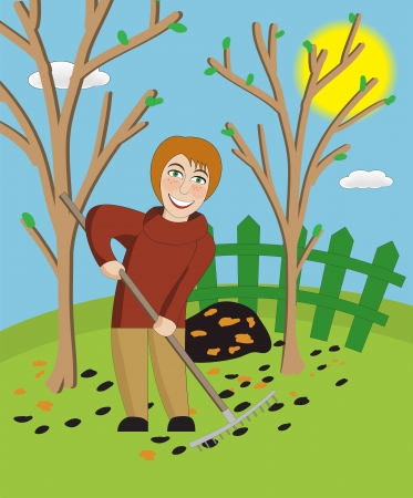 cleaning earth: Woman with a rake cleans a garden